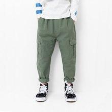 Ouyang&Ivan Boy Long Pants Autumn Spring New Japanese Style Khaki Cargo Boys Overalls Girls Cotton Casual