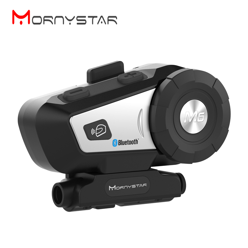 MORNYSTAR M6 800m Motorcycle Bluetooth Helmet Intercom Headset MP3 FM Voice Command Wired To 2 Way Radio Handsfree BT Interphone