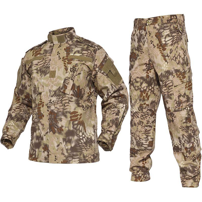 Camouflage désert militaire uniforme costume Camo Combat chasse costume uniformes tactiques BDU uniformes manches longues manteau + Long pantalon