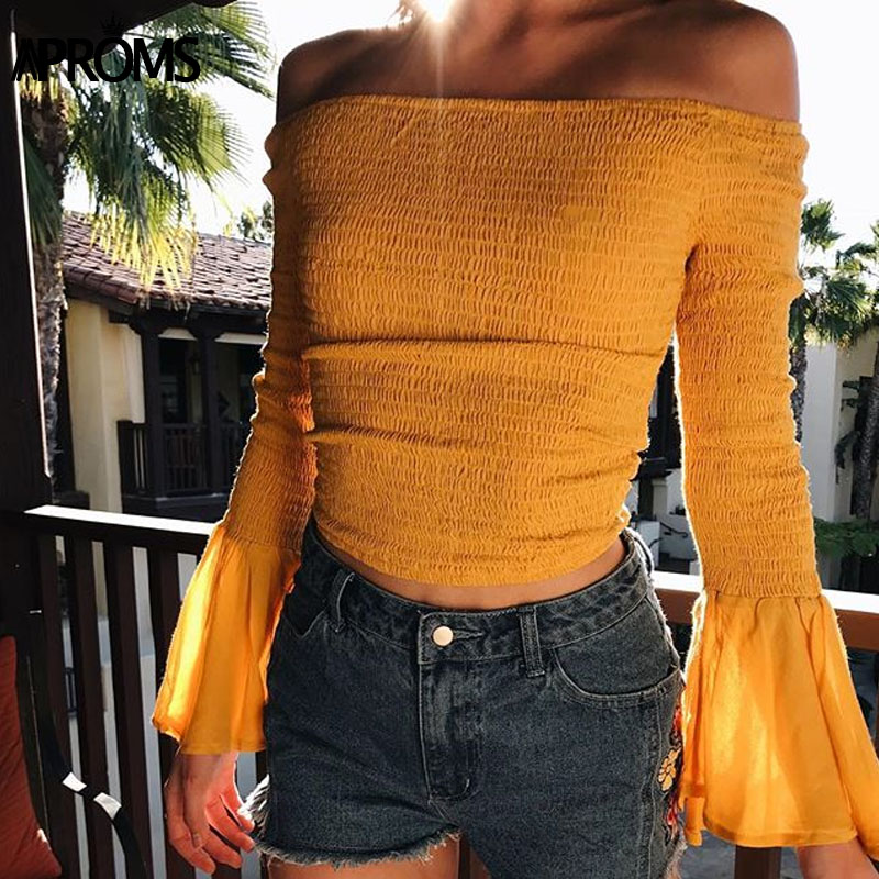 Aproms Solid Off Shoulder Ruched T-shirt 2018 Streetwear Flare Sleeve Tshirt Women Fashion Stretch Crop Top Sexy Tee Feamle Tops