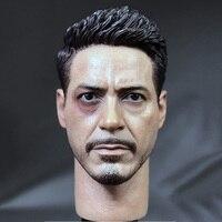 1/6 Iron Man Kapitan Amerykański 3 Tony Głowy Sculpts Normalne i uszkodzenia Wersje Z Szyi do 12 Cali Mężczyzna Organy Działania Fi