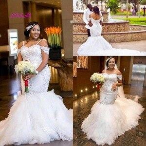 Image 4 - Strapless Beaded Spaghetti Starps Mermaid Wedding Dresses for Bride