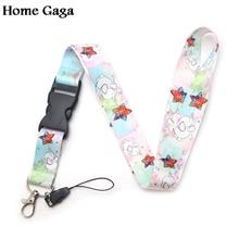 Homegaga elephant cartoon keychain lanyard webbing ribbon neck strap fabric para id badge phone holders necklace accessory D1159