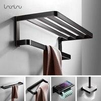 Bathroom Hardware Set Solid Brass Towel Rack Bath Shelves Wall Double Rods Bath Accessories Toilet Brush Holder Oil Rubbed Black