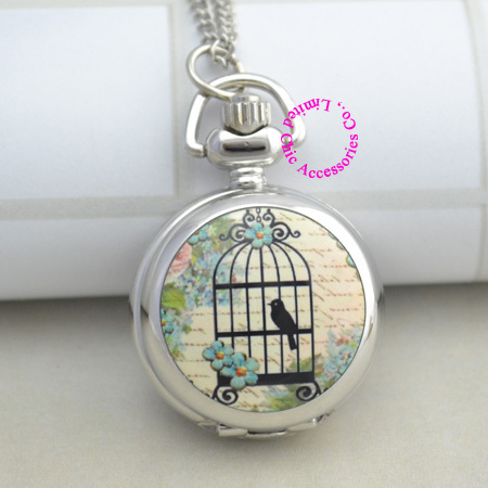 fashion women silver enamel bird cage pocket watch necklace birdcage drawing hou