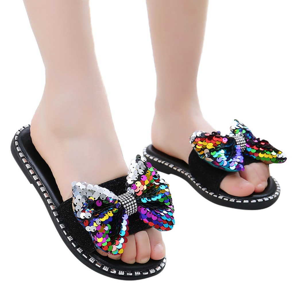 Baby Girl Sandals Summer Baby Girls Shoes Children Kids Baby Girls Bling Sequins Crystal Princess Slipper Casual Shoes Sandals