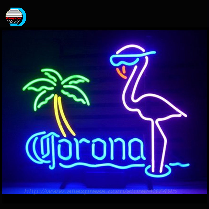 Neon Sign Corona Extra Parrot Neon Bulbs Handcrafted Bottle Palm