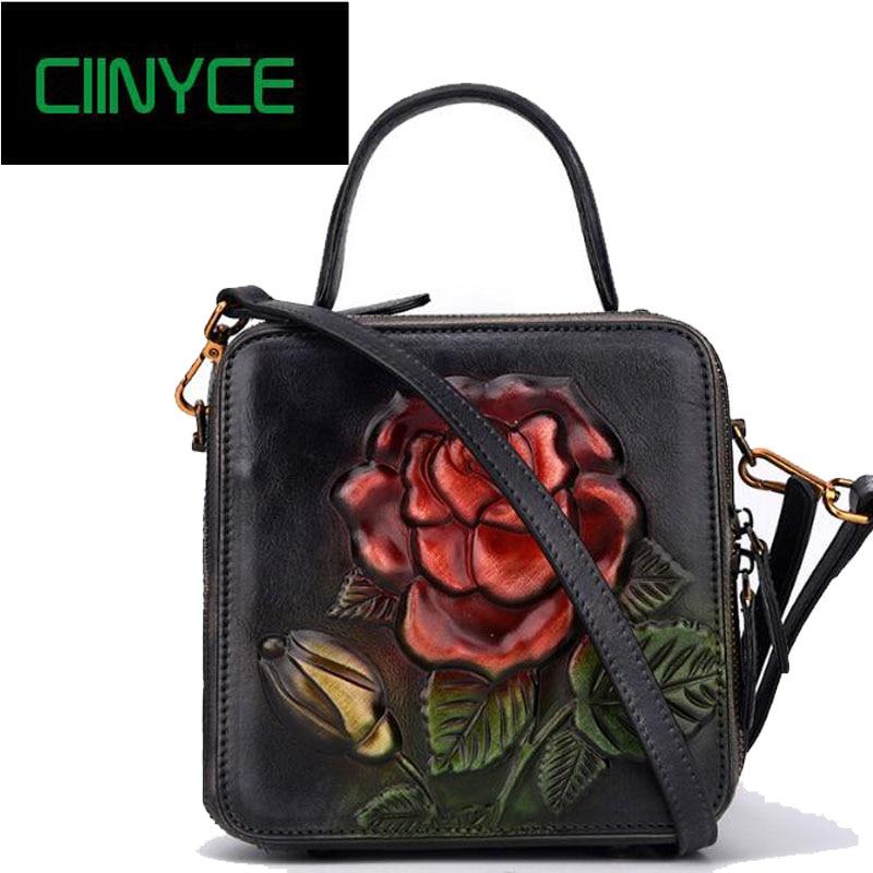 все цены на Original Designer Brand Genuine Cow Leather Women's Handbags vintage flowers Small Totes Crossbody shoulder Messenger bags онлайн