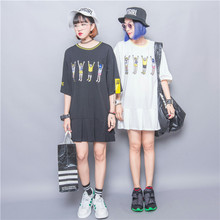 Fashion personality HARAJUKU zipper embroidery cartoon color block applique patchwork pleated one-piece dress female