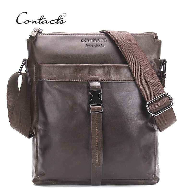 CONTACT'S Genuine Leather Men Bags Hot Sale Male Messenger Bag Man Fashion Crossbody Shoulder Bag Men's Travel New 2018 Bags genuine leather men bags hot sale male small messenger bag man fashion crossbody shoulder bag men s travel new bags li 1850