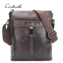 CONTACT S Genuine Leather Men Bags Hot Sale Male Messenger Bag Man Fashion Crossbody Shoulder Bag