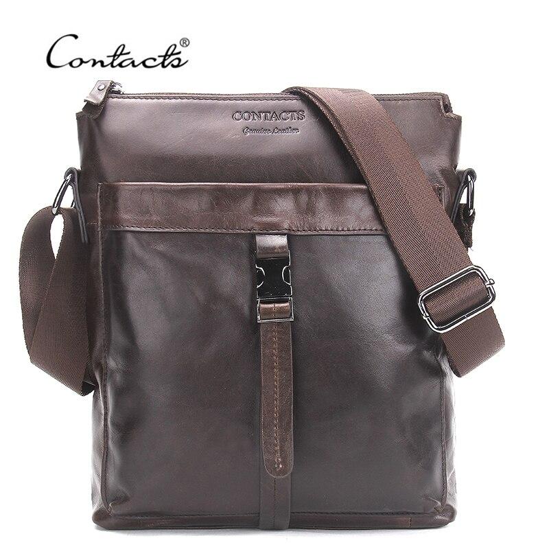 CONTACT'S Genuine Leather Men Bags Hot Sale Male Messenger Bag Man Fashion Crossbody Shoulder Bag Men's Travel New 2018 Bags