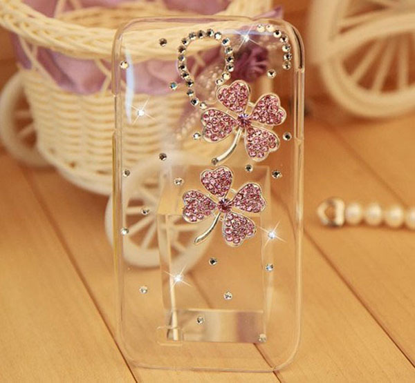 New Fashion High Quality Mobile Phone Case Four Leaf Grass Case for Samsung Galaxy 9500 S4 SIV i9500 Rhinestone Phone Accessory