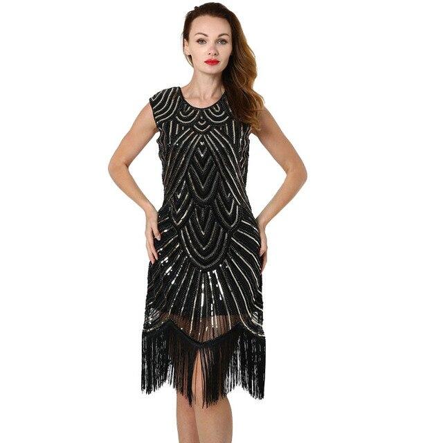 f85d79e0868b BLINGSTORY 1920 s Gatsby Pullu Saçak Paisley Sineklik Elbise Yıllık  Toplantı Püskül Tırnak Boncuk Elbiseler Kadın Parti Gece
