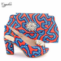 Pretty African cotton batik wax fabric pumps with bag high heel party shoes and handbag set with stones A5638, heel height 9.3cm