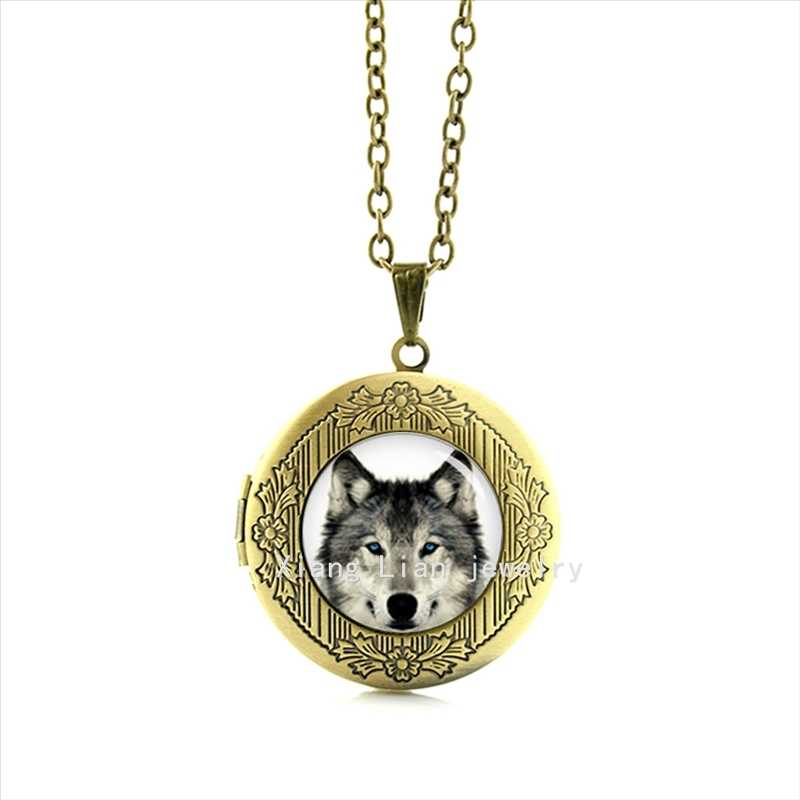 Wolf arctic animals picture personalized locket necklace geek wedding gifts, wolves jewelry for men T655