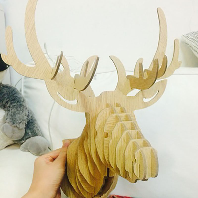 3D Deer Head Wall Decoration Retro Style Creative Wall Art Ornament ...