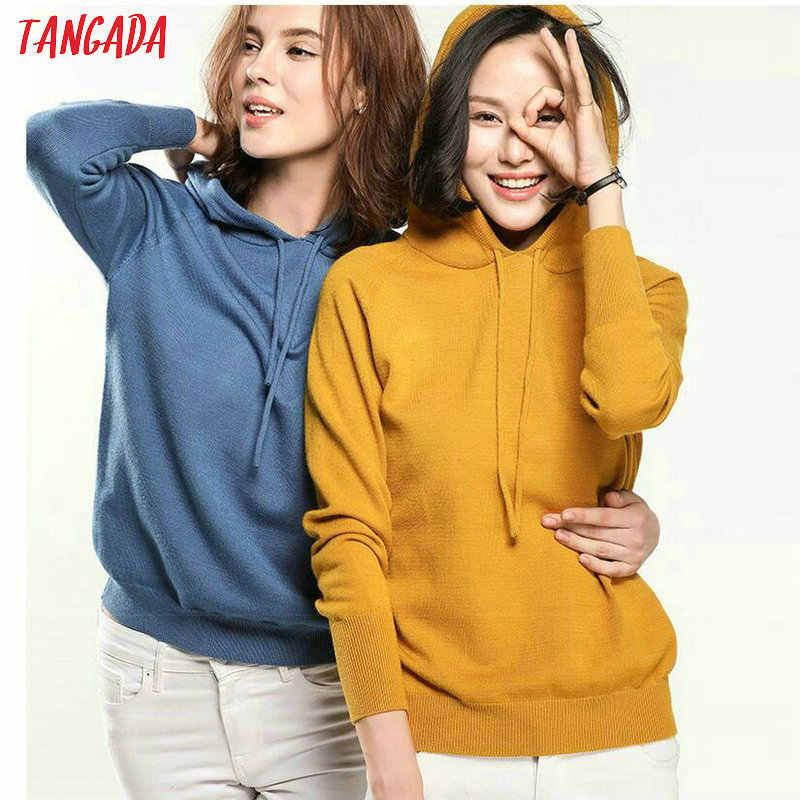 Tangada fashion woman solid hooded sweater female   long sleeve korean chic soft jumpers sweater ladies pull femme AQJ01