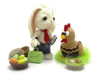 crochet toys  amigurumi  bunny and chicken model number b014