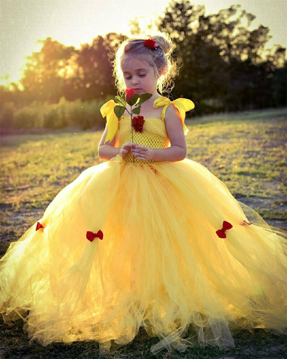 Girls Yellow Princess Tutu Dress Kids Crochet Tulle Flower Dresses Ball Gown With Red Ribbon Bow Children Party Costume Dresses