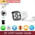 -40'C inverno usado H.265 2 K 1440 P 4mp câmera IP ao ar livre mini câmeras de cctv aquecedor dentro de vídeo P2P vigilância GV-T430AH GANVIS