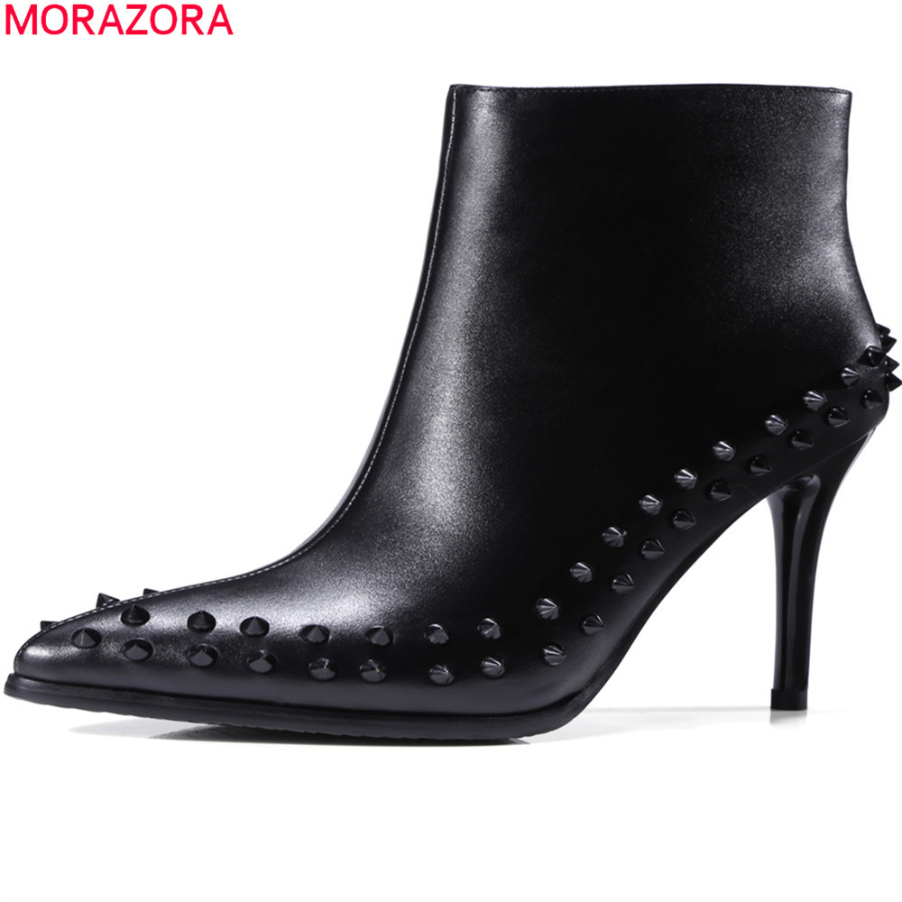 MORAZORA big size 33-43 fashion women boots pointed toe lady genuine leather boots thin heel super high cow leather ankle boots цены онлайн