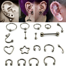 BOG-16g 1Pcs Surgical Steel Cool Horseshoe Circular Bead Closer Ring Tongue Barbell Ear Ring Body Piercing jewelrly(China)