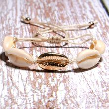 European And American Summer Bohemian Gold Color And Silver Color Natural Shell Hand-Knitted Knotted Bracelet(China)