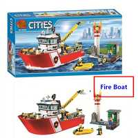 New City Fire Boat Ship Rescue Team Compatible With Lego 60109 Building Blocks DIY Educational Toys Boys Best Gift Free Shipping