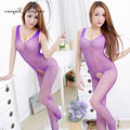Free size sex clothes open crotch lace bodysuit women sexy lingerie solid 6 color transparent sexy body stocking