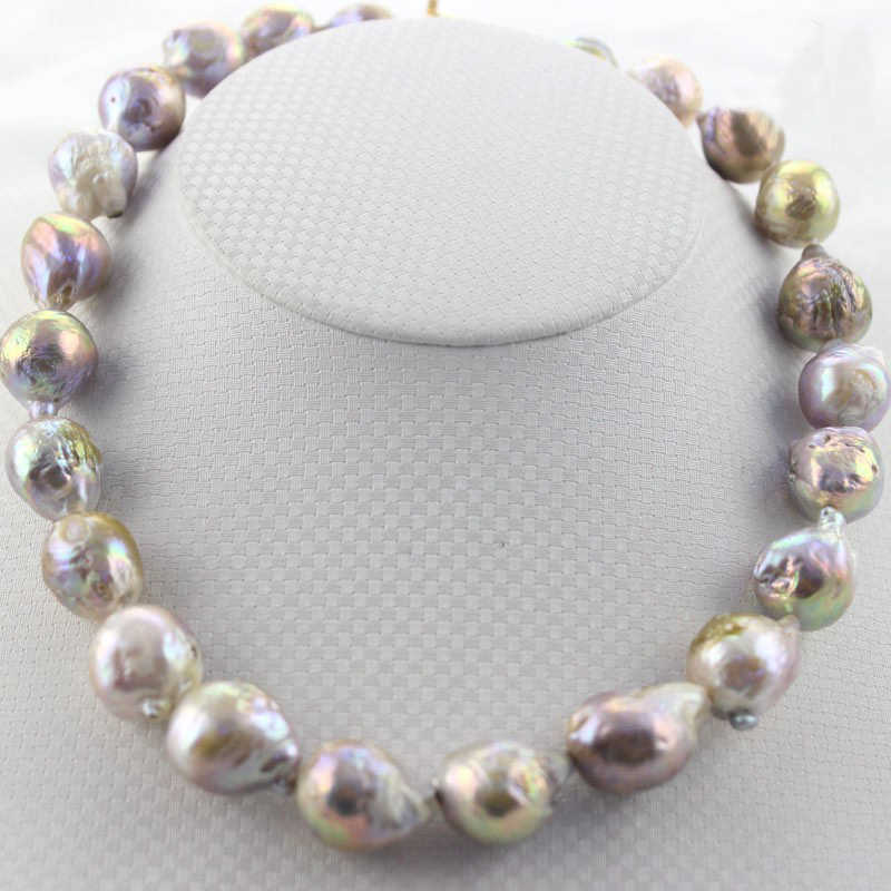 zxia 14-18mm Genuine Natural Freshwater Baroque Edison Round Large Pearl Bead Gold Filled Clasp Jewelry Necklace 17inch