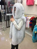 Fox Fur Vest With Hood Top Luxury Real Fox Fur Sleevless Jacket Fur Gilet Coat