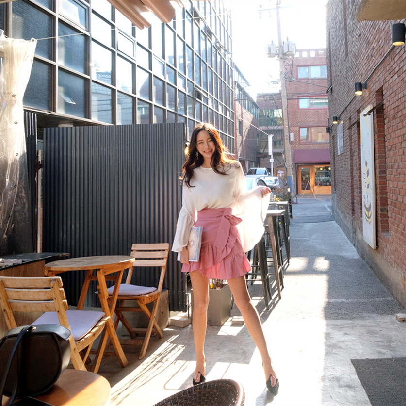 07834ea28 2017 Verano Faldas Moda de Volantes Mujeres del Diseño de La Falda Faldas  de Las Señoras Rosa de Algodón de Lino de Alta Cintura Falda de Midi Sexy  Girls ...