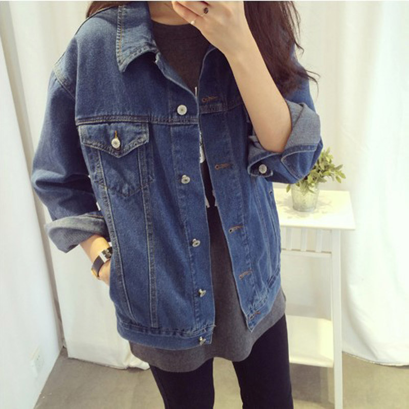 Spring Autumn Women Denim Coats Turn Down Collar Vintage Long Sleeve Jacket Loose Jeans Coat Casual Ladies Girls Outwear 99 H9