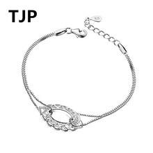 TJP Latest Hollow Flower Female Bracelets Fashion 925 Sterling Silver For Women Party Jewelry New Top Girl Bijou Gift