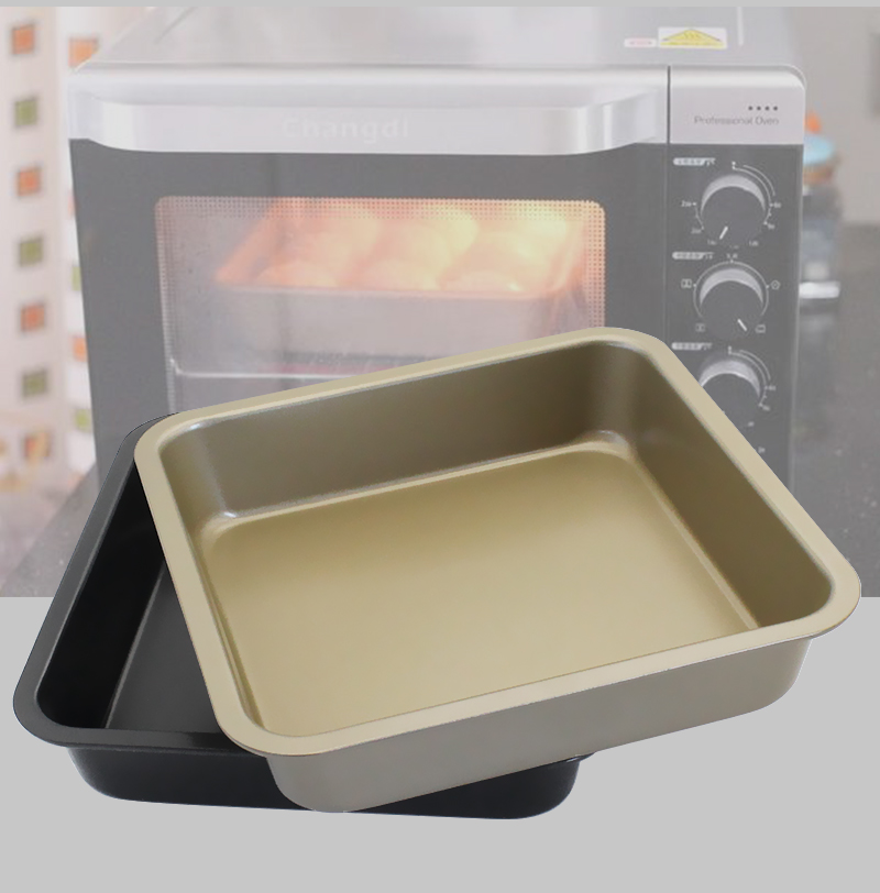 8 Inch Square Baking Pan Tray Oven Steel Trays Bread Forms Cookie Cake Mold Microwave Dish Baguette