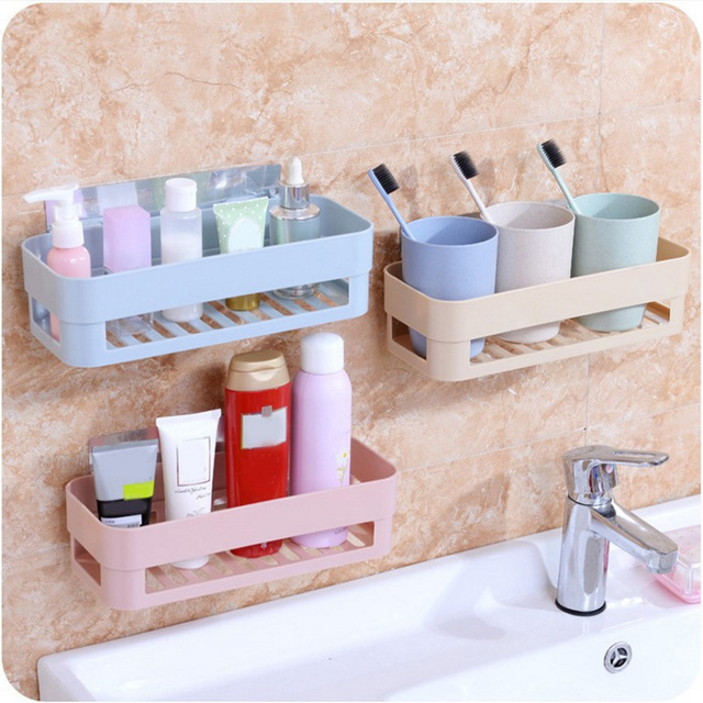 Self Adhesive Kitchen Storage Box Organizer Toilet Bathroom Rack Shelf Toiletries Holde