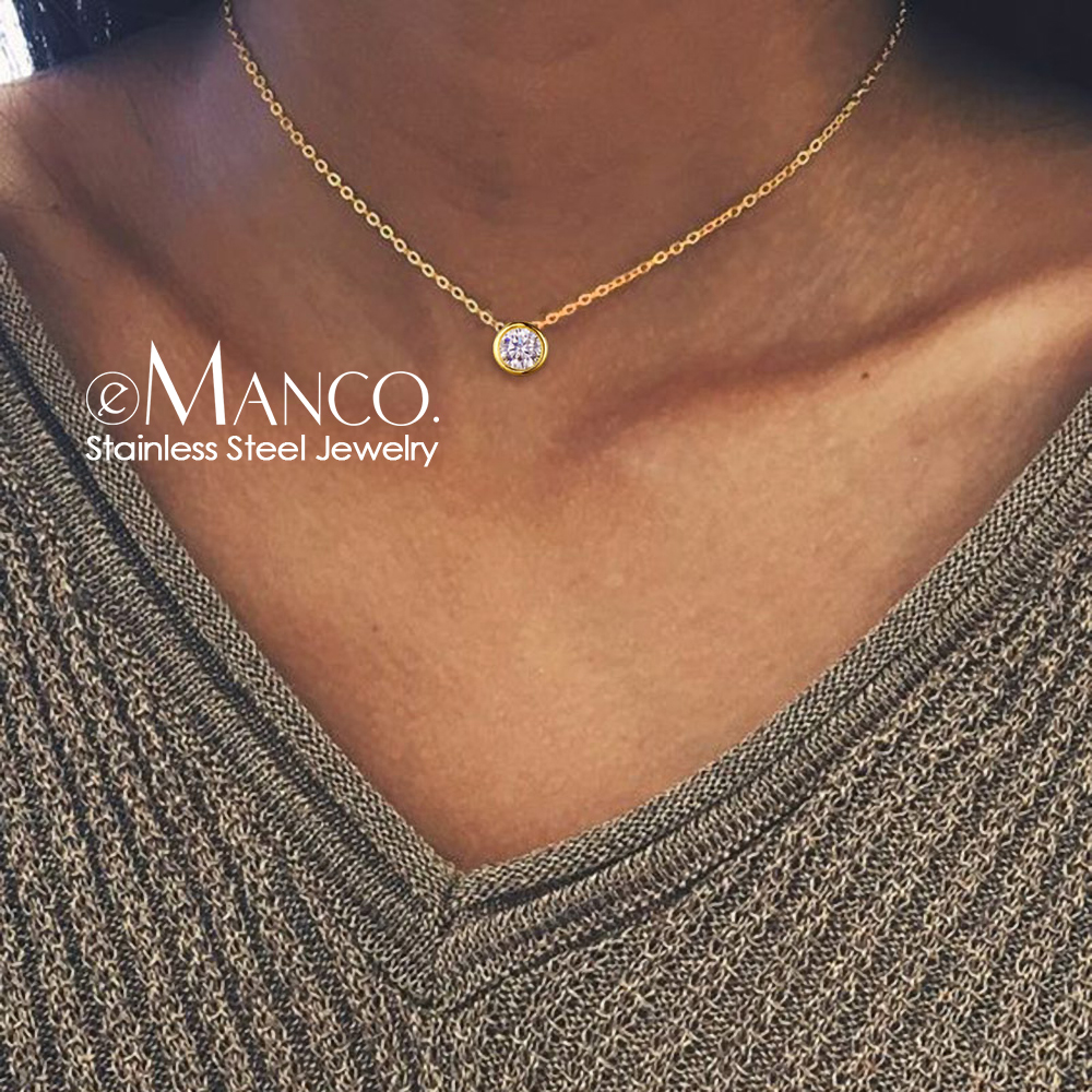 e-Manco Classic Stainless Steel Necklace for women Designer Jewelry Luxury Necklace Women Statement Necklace