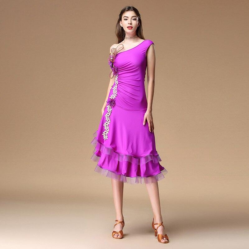2018 femmes danse vêtements fleur Costume hors épaule robes Salsa salle de bal danse latine longue robe élégante