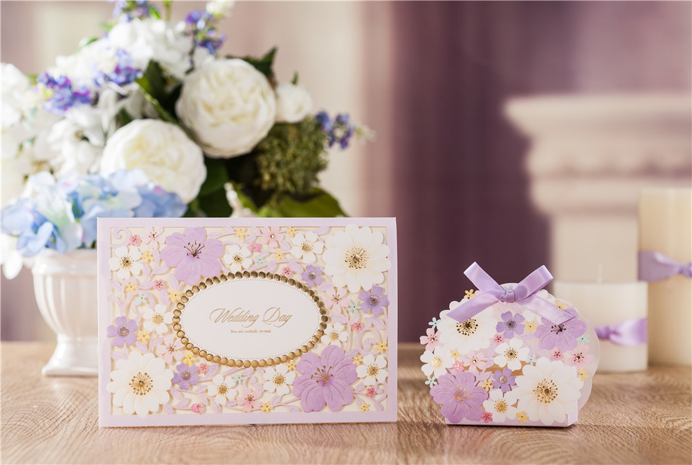 newly arrival 50pcs/set laser cut lilac floral design engagement wedding party invitation  with matching favor box availabCW7025 1 design laser cut white elegant pattern west cowboy style vintage wedding invitations card kit blank paper printing invitation