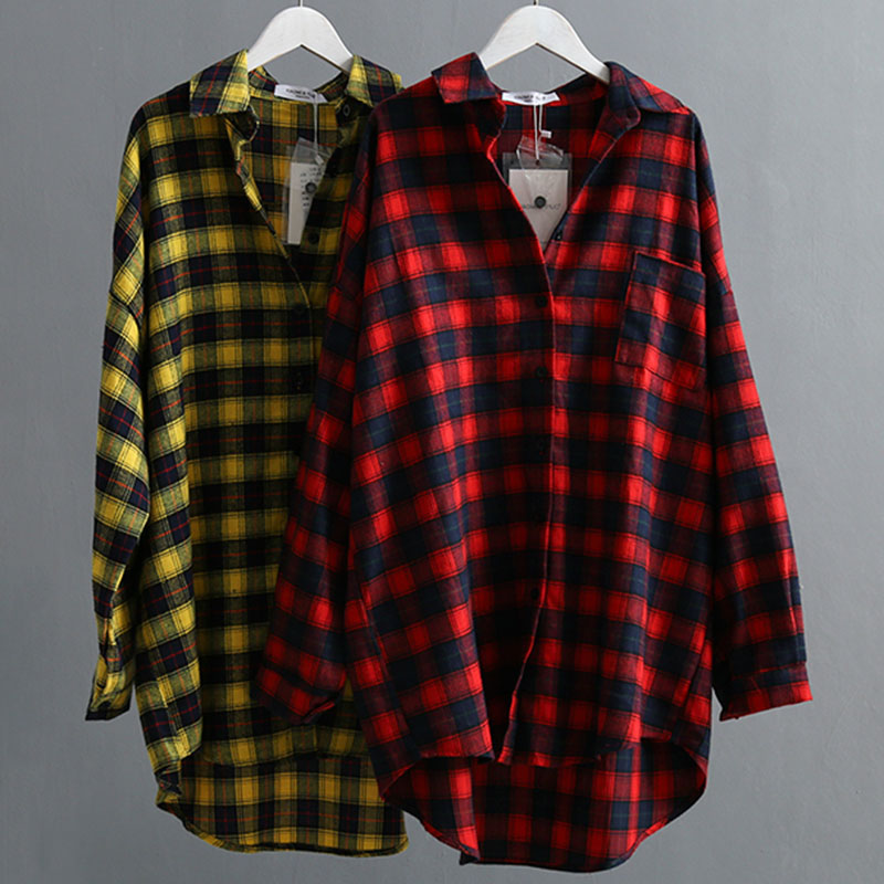 VogorSean Autumn Cotton Plaids Women   Blouses     Shirt   2018 High Quality Large size Fashion Womens   Shirts   Plaid Tops Red/Yellow