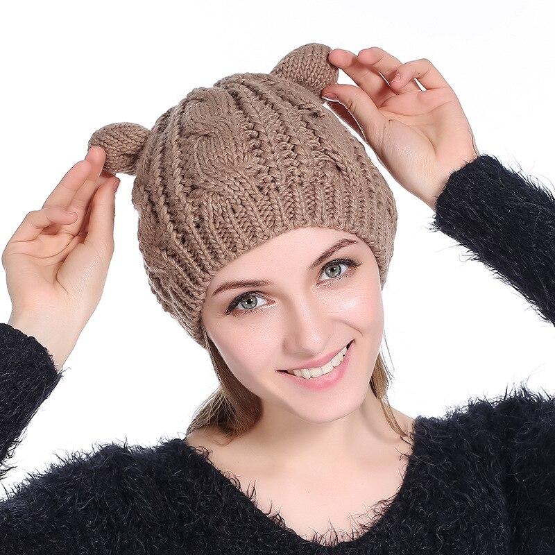 Cat Ear Beanies Winter Hat for Women Twist Knitted Skullies Autumn Acrylic Warm Cap Fashion Bonnet Homme Hiver Gorros hombre