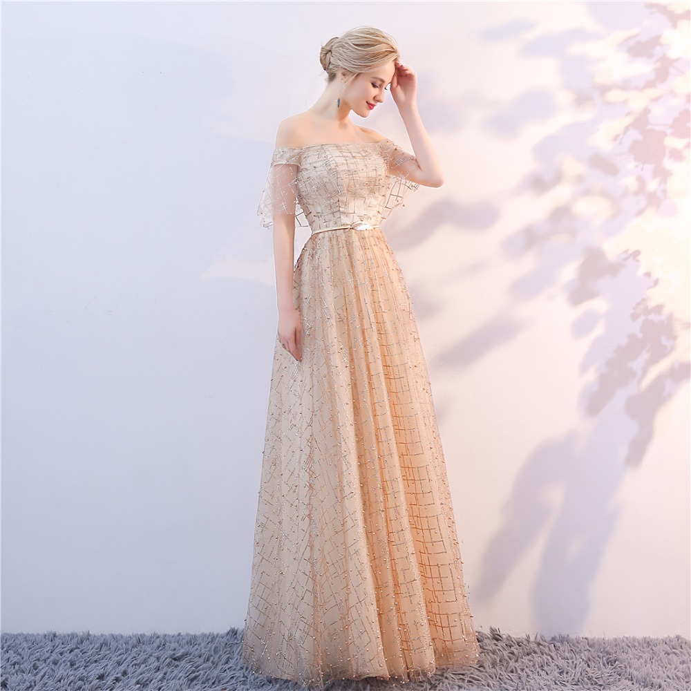 Golden Evening Dresses 2018 Nya Plus Size Tulle Ansökningar Långa - Särskilda tillfällen klänningar - Foto 3