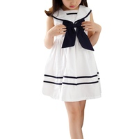 Fashion Cute Girls Short Sleeve Princess Navy School Style Cotton Bow Tie Striped Dress Simple Kawaii