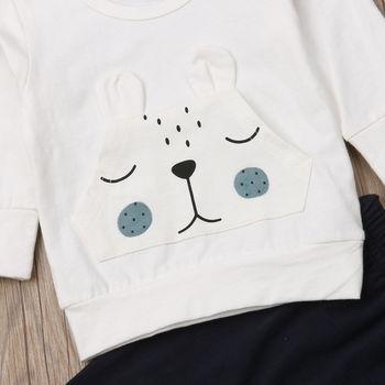 Baby Boy's White Bear Sweatshirt and Pants Set 5