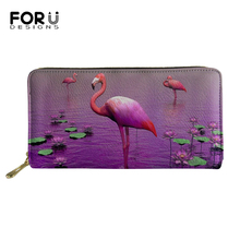 FORUDESIGNS Women Long Wallets Caroon Change Coin Purse Art Flamingo Print Pattern Cute Animal PU Leather Travel Passport Pocket
