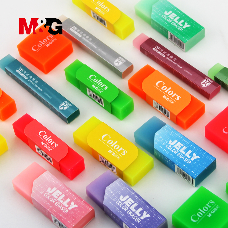 M&G 4Pcs kawaii fruit erasers for school accessories cute jelly rubber for school student colorful pencil eraser gift for child cute kawaii colorful cake rubber eraser creative macaron erasers for kids gift school supplies stationery student 2716