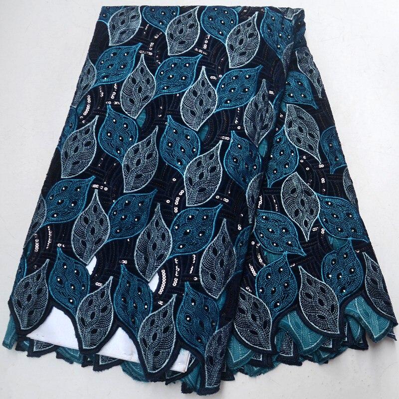 (5 หลา/pc) navy blue แอฟริกัน handcut sequins organza ลูกไม้ผ้าคุณภาพสูงไนจีเรีย party ลูกไม้ผ้าสำหรับชุด-ใน ลูกไม้ จาก บ้านและสวน บน   1