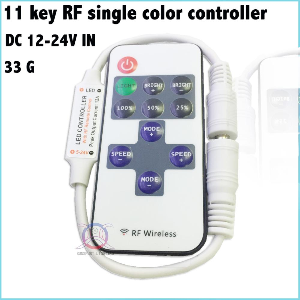 1-10 Pieces Advanced chip 11-key LED RF single color controller DC12-24V Factory DC line ...