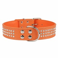 PipiFren Genuine leather Big Dogs Collars Rhinestone Accessories Supplies Leash For Large Dog Necklace Pet Collar Leather Shop